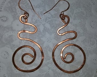 """SOLID COPPER Spiral Earrings with 3"""""""