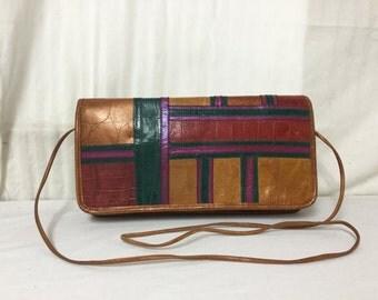 Carlos Falchi,bag Purse, Leather,Geometric ,Shoulder Bag ,Bronze, Gold,Purple