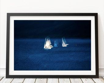 Blue large abstract art - sailing art - nautical - navy blue white wall art - extra large art -oversized canvas -