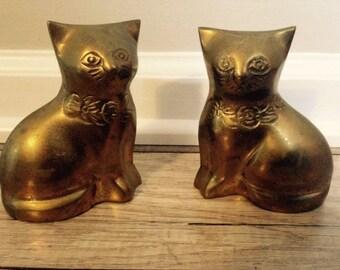 Vintage Brass Cat Figurines-Set of 2