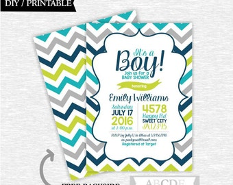 Teal, Navy, Grey, Olive Green It's a Boy Baby Shower Invitation Chevron DIY Printable (PDECH008)