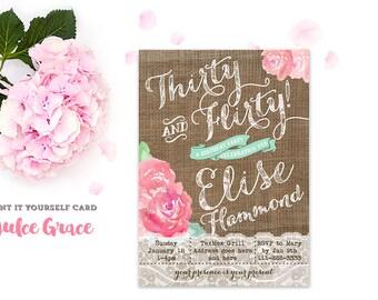 thirty and flirty invitation, 30th birthday invitation, printable bday party invite, pink mint birthday invitation, 30 flirty, 40 naughty