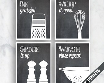 Funny Kitchen Art Print Set (Grater, Whisk, Salt Pepper, Colander) Set of 4 - Art Prints (Featured on Blackboard)