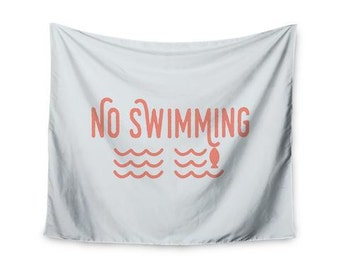 """Jackie Rose """"No Swimming"""" Pink Typography Wall Tapestry"""