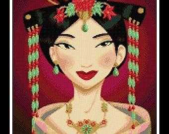 Mulan portrait - cross stitch pattern - PDF pattern - instant download!