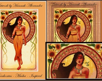 Pocahontas - Mucha-inspired - Artwork by Hannah Alexander - cross stitch pattern - PDF pattern - Instant download!