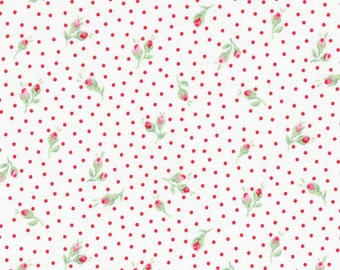 Lecien Flower Sugar, Fall 2015, White with Tiny Rosebuds and Red Polka Dots, Half Yard, LEC31271-30