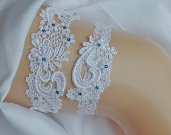 Venice Lace Wedding Garter Set, Something Blue Sapphire Garter Set, Ivory Lace Garters with Sapphire Swarovski Crystals, White Lace Garter