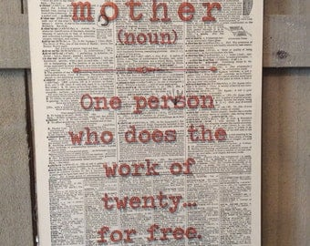 Vintage dictionary Art Funny Sign Mom definition Sign Mom Sign Mother Sign Mother Definition