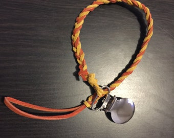 Orange and Mustard Pacifier Clip