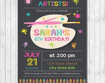 Art Birthday Party Invitation, Painting Party Invitation, Little Artist, painter invitation, art invite, Painter invite, printable