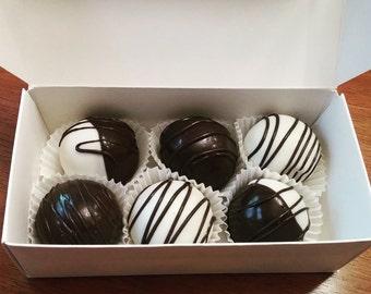 Chocolate Vanilla Cheesecake Marble Cake Truffles - Cake Balls - One Dozen