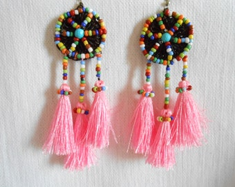 Pretty fluff cotton tassel pink silky earrings with handmade thailand. (JE1102-PI)