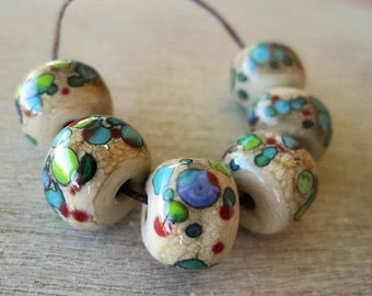 Glass Lampwork Bead set of 6 (not etched) Cream Speckled