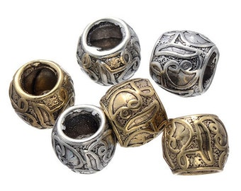 10 PC golden silver mixed color dreadlock metal beads braid cuff 8mm Hole D04