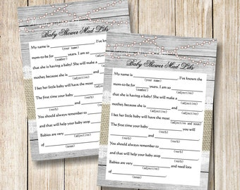 Baby Mad Libs, Rustic Baby Mad Libs, Baby Shower Games, Baby Girl Baby Shower, Instant Digital Download