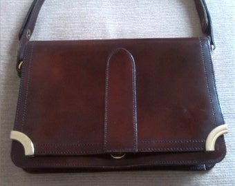 Shoulder bag/Patent leather bag/Brown Handbag/patent leather/  faux suede/