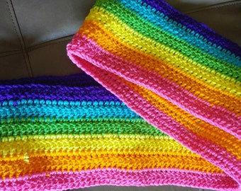 Crochet Rainbow Scarf- pink, orange, yellow, green, blue, purple