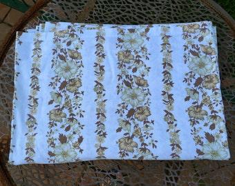 Vintage  Bed Sheet- Single Bed- Vintage Flat Sheet-Brown StripedFlat Sheet- Brown Gloral Flat Sheet-Upcycle Bed Sheet.