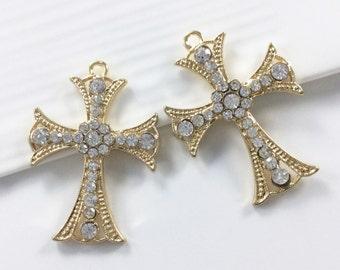 5pcs Wholesale  Rhinestone  Cross Charms,Cross Pendants,Cross Necklace , Cross Jewelry.