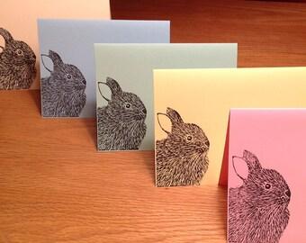Bunny Rabbit linocut block print card