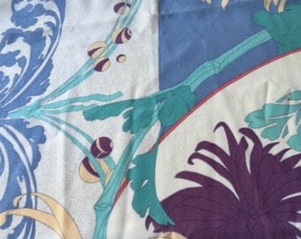 "Silk Scarf Designer GINNIE JOHANSEN Abstract Flowered Aqua, Blue, Purple 33"" by 34"" Large Square"