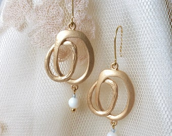 SALE Gold Loop Geometric Dangle Earrings