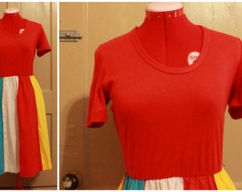 70s Cotton Fit-and-Flare Summer Dress Size M/L