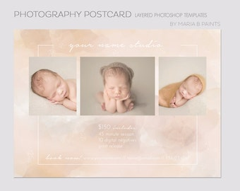 Photography Marketing Template - Soft Beige - Mini Sessions - Layered Photoshop Template - Book Now - Photography Session - Postcard