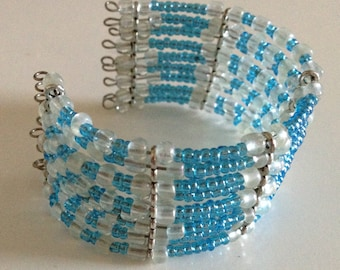 blue and white beaded cuff bracelet