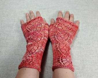 """Fingerless Gloves Lace """"Leaves"""" coral, salmon, knitted mittens, arm warmers, wedding"""