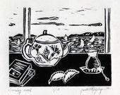 Original Linocut Print, Limited edition, Sunday mood, Teapot and Turkish tea glass
