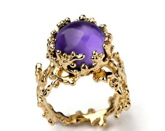 SALE 20% Off - CORAL Yellow Gold Amethyst Ring, Purple Amethyst Ring, Large Amethyst Ring, Purple Amethyst Engagement Ring