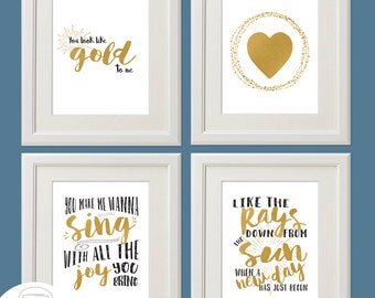 "YOU Look Like Gold to Me, 4 -  8 x 10"" Printable WALL ART, Inspired by Ben Harper, You look like Gold"