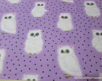 Flannel Fabric - Fuzzy Owl - 1 yard - 100% Cotton Flannel