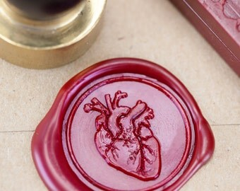 Anatomical Heart Wax Seal Kit | wax stamp, sealing wax, unique alternative wedding, science wedding, anatomy, future nurse, girlfriend gift
