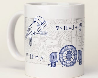 Science Mug: Electromagnetism | Physics Equation, Tesla, Nerdy Mug, Maxwell's Equations, Electricity & Magnetism, teacher gift, Scientist