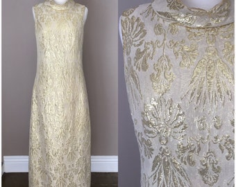 Vintage 60s Gold Cream Evening Dress Formal Evening Party