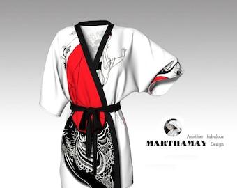 Beardsley Style Kimono Robe (White)
