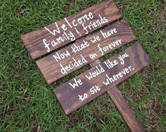 Wedding Welcome Sign, Rustic Wedding Sign, Seating Signs, Reception Sign, Ceremony Sign, Wood Wedding Sign on Stake, Wedding Signage