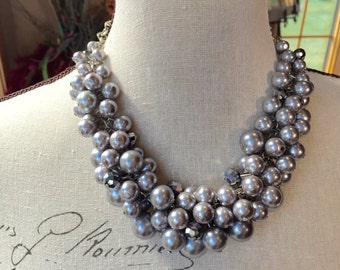 Gray bridesmaid statement necklace, Bauble necklace, chunky pearl necklace, clustered pearl necklace, pearl necklace