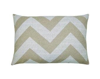 Cushion cover ZIPPY beige natural zigzag stripe striped canvas 40 x 60 cm