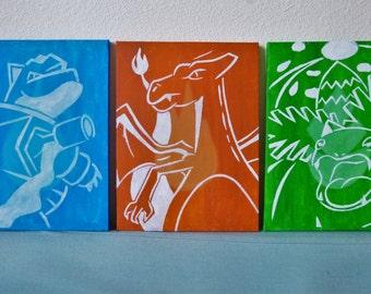 Blastoise, Charizard, Venusaur final evolutions A4 triptych, hand painted.