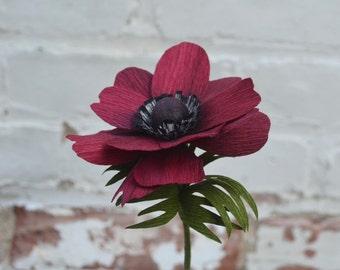 Home decor - Burgundy paper anemone - Paper flower - Housewarming gift - Paper flowers - Hostess gift- Anniversary gift - Birthday gift