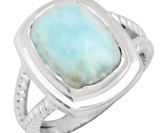 Natural Larimar Gemstone Ring Solid 925 Sterling Silver Jewelry Size 8 IR35051