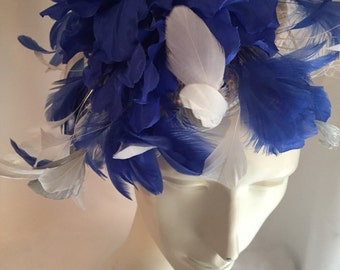 Royal Blue and white fascinator