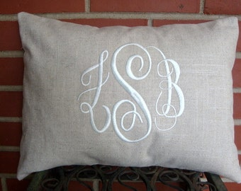 Monogram Pillow. Linen Pillow. Throw Pillow. Pillow Cover. Natural Pillow. Lumbar Pillow. Cream Pillow. Off White Pillow