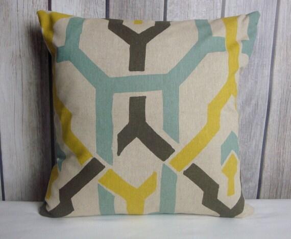 Throw Pillow. Geometric Pillow. Aqua Blue Pillow. Yellow Pillow. Beige Pillow. Grey Pillow