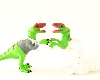 Raptor Bride & Groom Wedding Cake Toppers