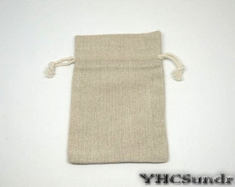 "10pcs - Plain Flax Linen Bag with drawstring - 3.2""(W) x 4.8""(L)"